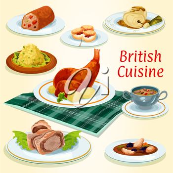 British cuisine popular dishes icon with beef wellington in pastry wrap, scottish chicken soup with prunes, rabbit with potato, fruit cake, kidney soup, scones, cod in mustard sauce and fish pate