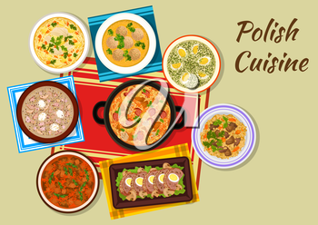 Polish cuisine iconic dishes sign with cabbage and meat stew bigos, chicken vermicelli soup, dumplings, beef goulash, sorrel soup, beef, bean and barley stew, meat roll and sour rye soup with sausages