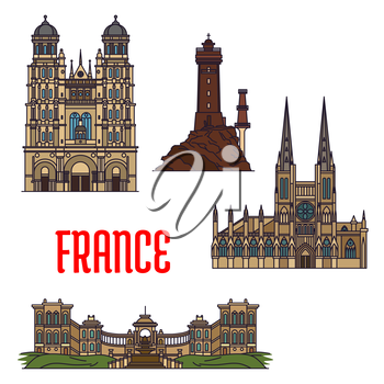 French travel landmarks icon with thin line roman catholic Cathedral of Saint Andrew and Church of Saint Michel, iconic La Vieille lighthouse and Palais Longchamp. Travel and vacation planning design