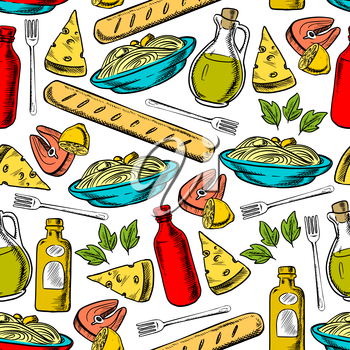 Italian cuisine seamless pattern of pasta, cheese, olive oil, breadstick, salmon steak and red wine bottles on white background with basil leaves and lemon fruits