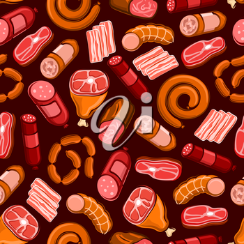 Seamless pattern of meat sausage, ham, bacon, beef steak, salami, chorizo and baked pork. Barbecue or grill menu design