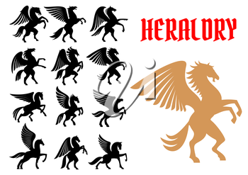 Mythical Pegasus horse creatures. Heraldic animals icons. Vector heraldry emblem silhouettes for insignia, tattoo, shield element
