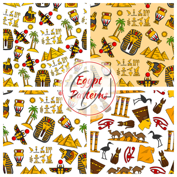 Egypt. Ancient Egyptian culture seamless patterns. Vector pattern of Egypt cultural objects Pyramids, Nefertiti bust, eye of Horus, Tutankhamun pharao mask, scarab, camels in desert, sacred cat and st