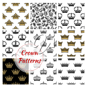 Vector pattern of royal crowns. Seamless background with golden, royal, heraldic, imperial, vintage, retro, monarch, regal crown icons