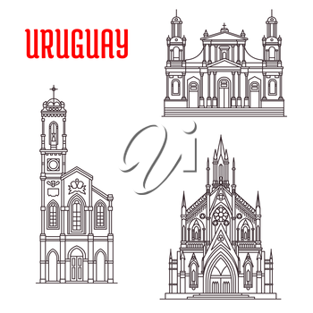 Church of Our Lady of Sorrows, Cathedral Basilica of Saint John the Baptist, Sagrada Familia Capilla Jackson. Historic famous architectural buildings of Uruguay. Vector thin line icons souvenirs, trav