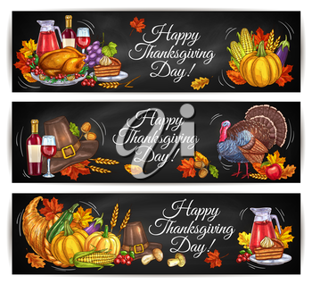 Happy Thanksgiving Day greeting banners. Traditional holiday poster. Vector elements of thanksgiving dinner turkey, vine, pumpkin. Color design of cornucopia, pilgrim hat, autumn maple and oak leaves