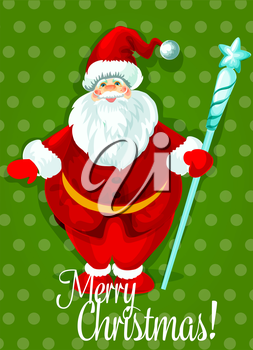 Santa Claus Christmas holiday poster. Smiling Santa in red hat and suit standing with icy staff, topped with star. Christmas greeting card, New Year decor, winter celebration theme design