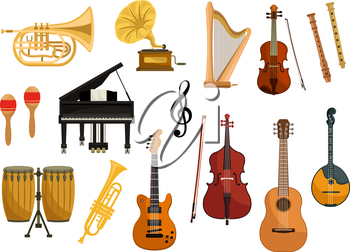 Vector icons of musical instruments. Isolated string and wind music instruments of cymbals, trumpet, drums, harp, gramophone, electric guitar, violin, contrabass, saxophone, flute, mandolin, music cle