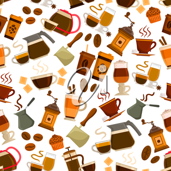 Coffee drinks pattern. Vector seamless pattern of steamy coffee cappucino cup, retro coffee latte maker, vintage coffee mill, turkish cezve, hot milk macchiato, coffee beans, chocolate dessert cake. C