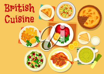 British cuisine traditional roast beef with yorkshire pudding icon with irish fish soup, chicken salad with cherry fruit, fish and chips, duck with mint sauce, sorrel cream soup, beef kidney pie