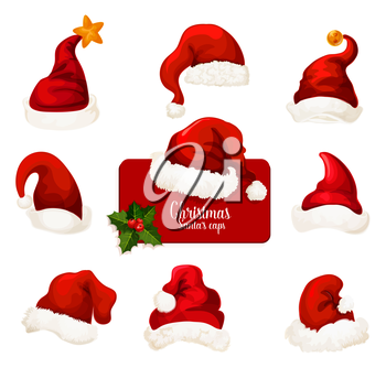 Christmas Santa hat isolated cartoon icon set. Red cap of Santa Claus with star and jingle bell. Winter holidays traditional costume for festive design