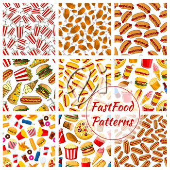 Fast food patterns set. Vector seamless background of fast food pizza slice, grilled chicken leg, barbecue sausage, hot dog, mexican tacos, cheeseburger, french fries, ice cream, soda bottle, donut, p