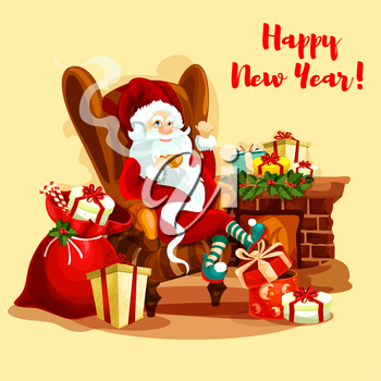 Santa Claus resting with cup of tea near fireplace, decorated with holly berry garland, gift and present boxes, candy cane and toy rabbit. Christmas card or New Year holiday design
