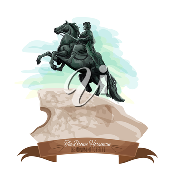 Russian travel landmarks cartoon icon with The Bronze Horseman statue of Peter The Great on stone postament in Saint Petersburg, decorated by ribbon banner