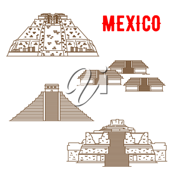 Uxmal, Teotihuacan, Chichen Itza, Ek Balam. Ancient and historic culture landmarks of Mexico. Vector thin line symbols of famous archeological Maya and Incas sightseeings for souvenirs, travel map gui