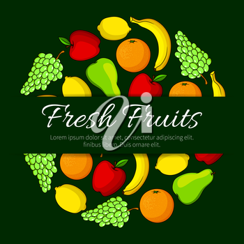 Fruits poster of farm and garden ripe fruit pear, juicy citrus lemon and orange or tangerin or grapefruit, apple and green or white grape and exotic tropical banana. Vector fresh organic fruit harvest