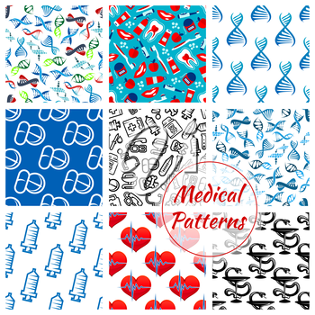 Medical seamless patterns set of of medicines and medication items heart pulse, DNA helix and syringe, thermometer, dentistry items tooth paste, brush and apple, pills and drugs, apple and doctor stet