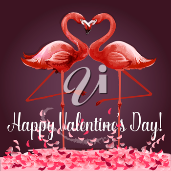 Love and Valentine Day card. Romantic pink flamingo birds join heads to create a heart. Greeting card with love birds and rose flower petals. Festive poster for Valentine Day design