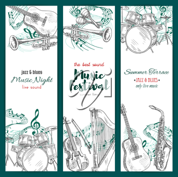 Banners with musical instruments. Vector sketch design for jazz music festival. Vertical set of sax or saxophone and clef note stave, harp and trumpet, maracas and drums kit, acoustic guitar and piano