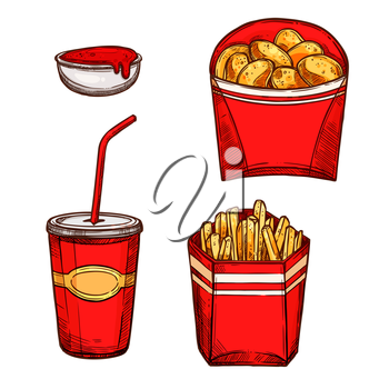 Fast food snacks and drinks. Vector isolated sketch icons of crispy chicken nuggets, fried french fries in red paper box and soda drink in cup with drinking straw and ketchup sauce in bowl. Design for