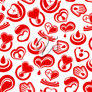 Blood donation and heart health vector seamless pattern of cardiology medications or blood drops. Donor concept design with cardio healthcare items and symbols heart pulse and human helping hand