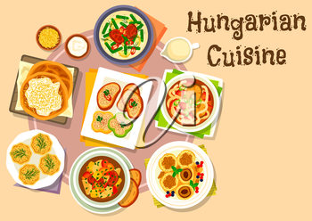 Hungarian national cuisine icon of pepper with garlic cheese spread, vegetable beef soup, pork bean stew, flatbread with sour cream, fish noodle soup, cheese dumpling with plum fruit, egg pate tartlet