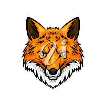 Fox vector mascot icon. Head and muzzle or snout of red or yellow fox animal with green eyes and fur. Isolated emblem design for sport team, hunting adventure trip club or tattoo sign