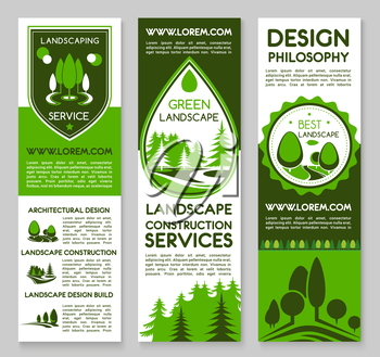 Landscape and planting project design service vector banners set for home or garden green plants and trees architecture or environment build or horticulture and gardening company