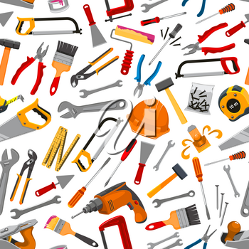 Working tool, instrument and equipment for construction and repair work seamless pattern. Hammer, screwdriver, wrench, pliers, saw, ruler, drill, brush, roller, spanner, trowel, spatula for DIY design