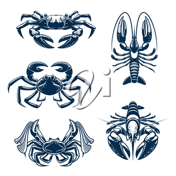 Crab and lobster marine animal icon set. Seafood symbol of fresh crab and crayfish for fish market, sea fishing and seafood restaurant themes design
