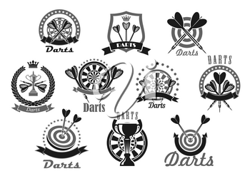 Darts vector icons set of dartboard and arrows. Emblems of dart game winner cup awards, trophy heraldic laurel wreath, crown and victory ribbons and stars for sport or club team game championship or c