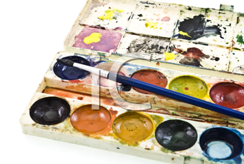 Royalty Free Photo of Watercolor Paint Sets With Brush