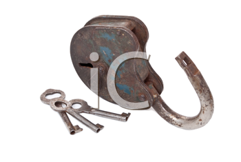 Royalty Free Photo of an Opened Lock and Keys