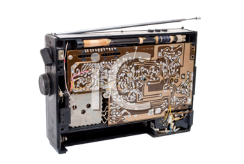 Royalty Free Photo of an Open Old Radio For Repair