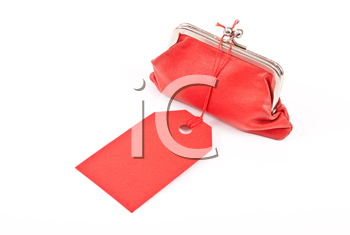 Royalty Free Photo of a Red Coin Purse and Tag
