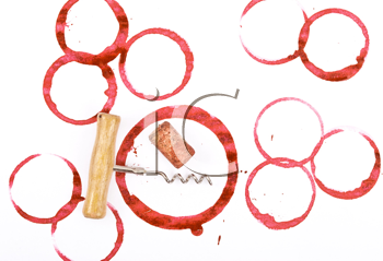 Royalty Free Photo of Wine Stains and Corkscrew