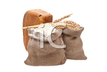 Flour and wheat grain with bread