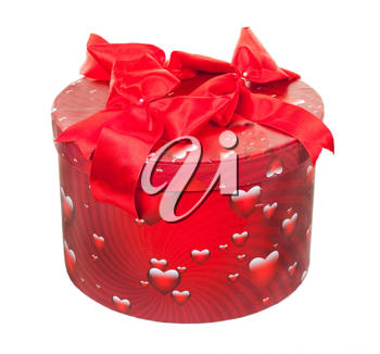 Royalty Free Photo of a Round Red Gift Box With Heart Icons and a Red Bow