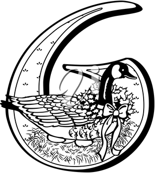 Royalty Free Clipart Image of One of Six Geese a Laying
