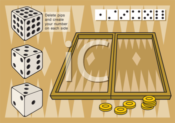 Royalty Free Clipart Image of a Game of Backgammon