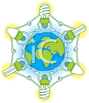 Royalty Free Clipart Image of Lights Around the World