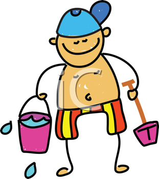 Royalty Free Clipart Image of a Boy With a Sand Pail
