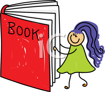 Royalty Free Clipart Image of a Girl Reading a Book