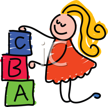 Royalty Free Clipart Image of a Girl With Building Blocks