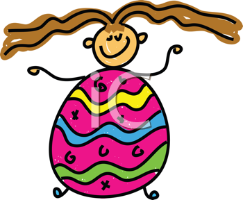 Royalty Free Clipart Image of a Girl With an Easter Egg