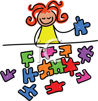 Royalty Free Clipart Image of a Little Girl With a Jigsaw Puzzle