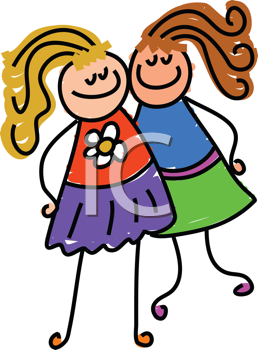 Royalty Free Clipart Image of Two Girls