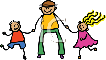 Royalty Free Clipart Image of a Man With Two Children