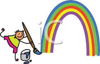 Royalty Free Clipart Image of a Boy Painting a Rainbow