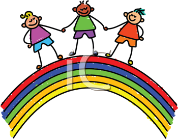 Royalty Free Clipart Image of Kids Holding Hands on a Rainbow